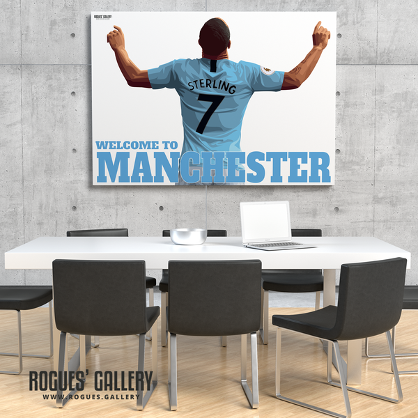 Raheem Sterling Manchester City Maine Road MCFC Sky Blues Winger England A3 Print Welcome Pep