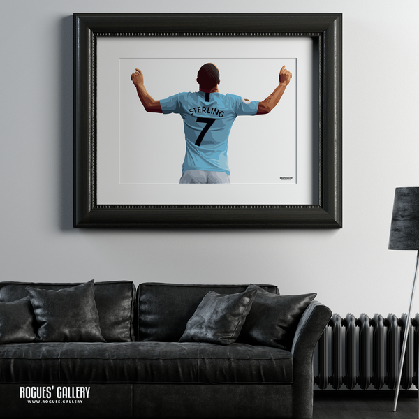 Raheem Sterling Manchester City Maine Road MCFC Sky Blues Winger England A1 Print No Text