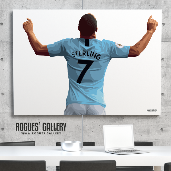Raheem Sterling Manchester City Maine Road MCFC Sky Blues Winger England A0 Print No Text