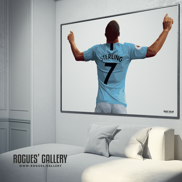 Raheem Sterling Manchester City Maine Road MCFC Sky Blues Winger England poster No Text limited edition