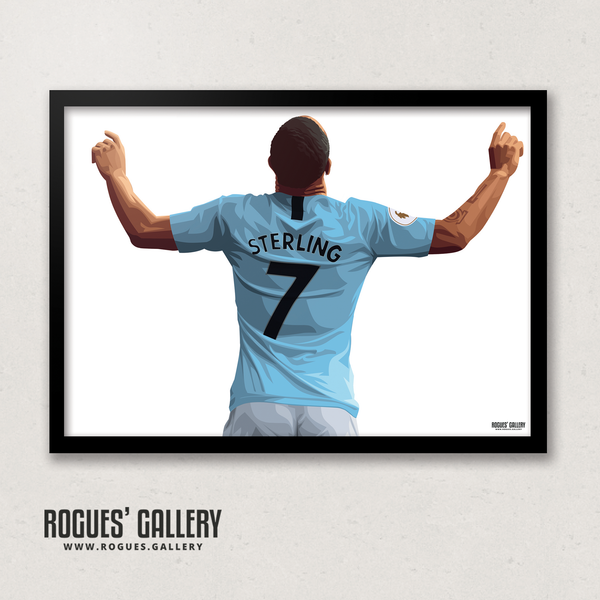 Raheem Sterling Manchester City Maine Road MCFC Sky Blues Winger England A3 Print No Text