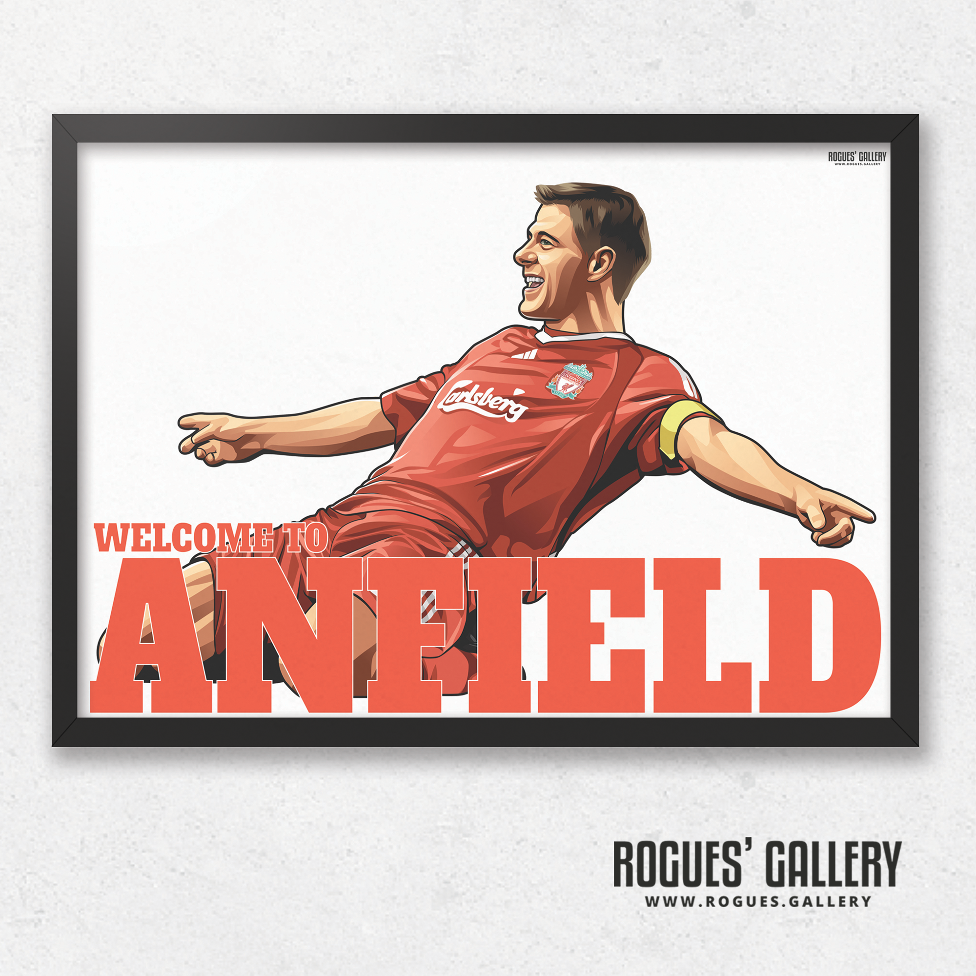 Steven Gerrard Liverpool FC LFC captain midfielder The Kop England Three lions Welcome To Anfield A3 Print