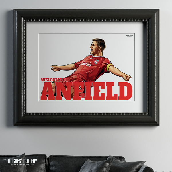 Steven Gerrard Liverpool FC LFC captain midfielder The Kop England Three lions Welcome To Anfield A1 Print