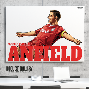 Steven Gerrard Liverpool FC LFC captain midfielder The Kop England Three lions Welcome To Anfield A0 Print