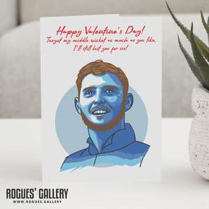 Ben Stokes England Cricket Valentine's Day Card Middle wicket