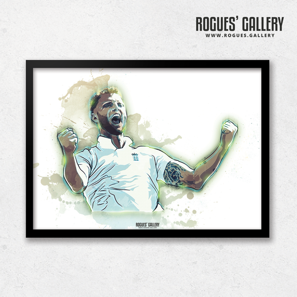 Ben Stokes England all rounder Test wicket taker bowler art print A3 artwork