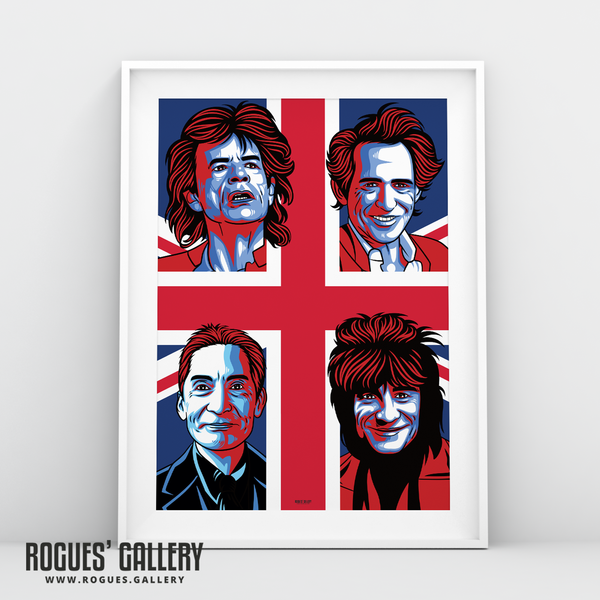 The Rolling Stones modern art greatest rock band Rock'n'roll Jagger Richards Wood Watts A3 art print