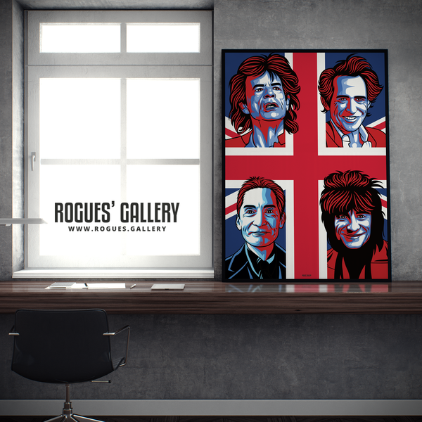 The Rolling Stones modern art greatest rock band Rock'n'roll Jagger Richards Wood Watts A1 art print