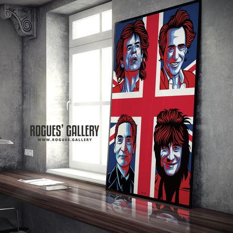 The Rolling Stones modern art greatest rock band Rock'n'roll Jagger Richards Wood Watts A0 art print
