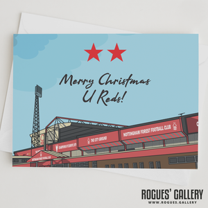 Car Park Two Stars The City Ground Nottingham Forest FC Merry Christmas U Reds! Card 6x9""