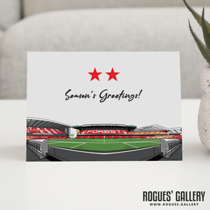 Brian Clough Stand Two Stars The City Ground Nottingham Forest FC Season's Greetings Card 6x9""