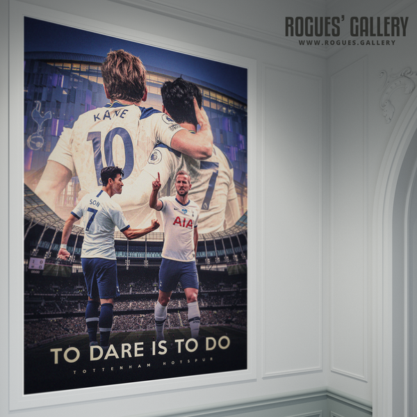 Tottenham Hotspur Harry Kane Son Heung-min Spurs To Dare is to do A0 poster record goals