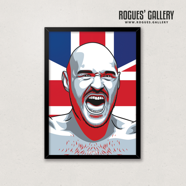 Tyson Fury Gypsy King Morecombe PPV Heavyweight Champion Boxing Union Jack Flag A3 print edits Deontay Wilder defeat
