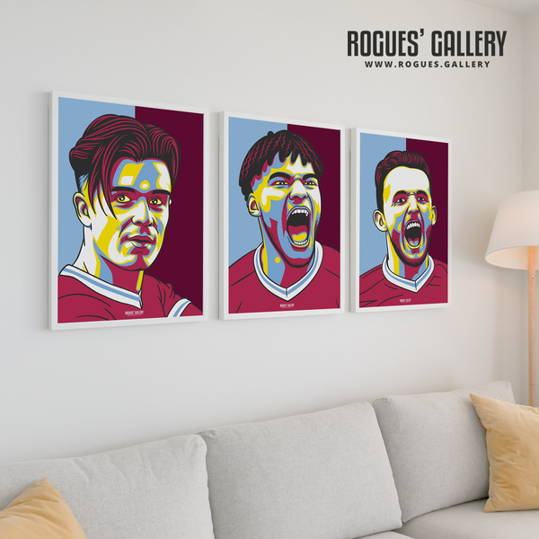 Jack Grealish Tyrone Mings John McGinn Aston Villa Villa Park stars canvas designs A3 art edits