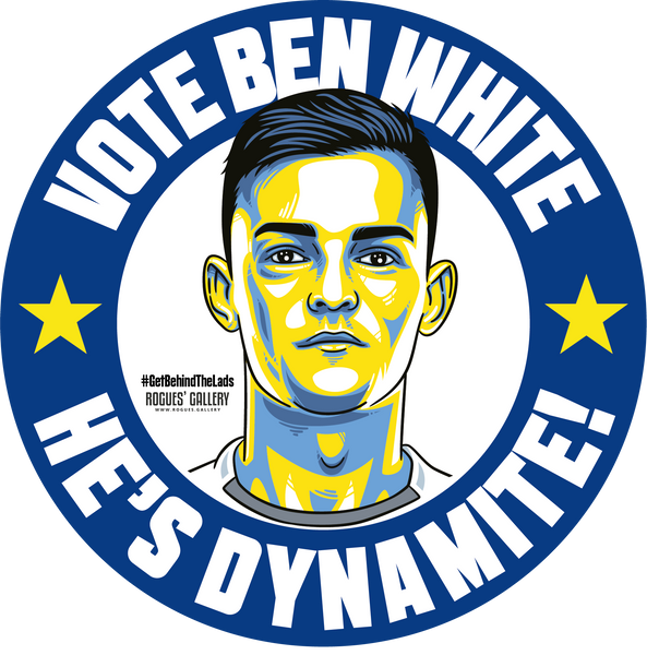 Ben White Leeds United central defender dynamite stickers Vote #GetBehindTheLads