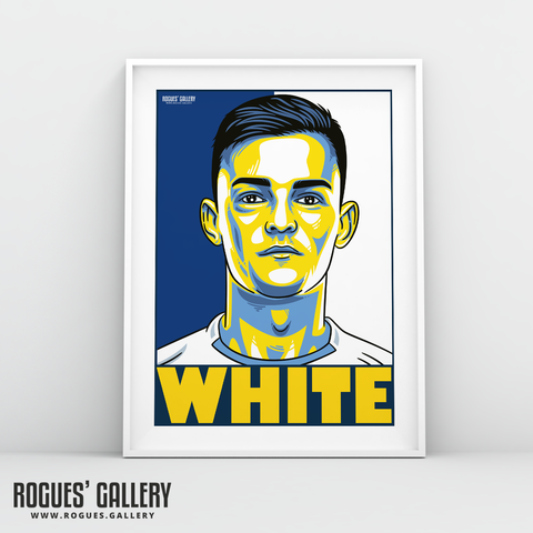 Ben White defender young Leeds United FC A3 art print design