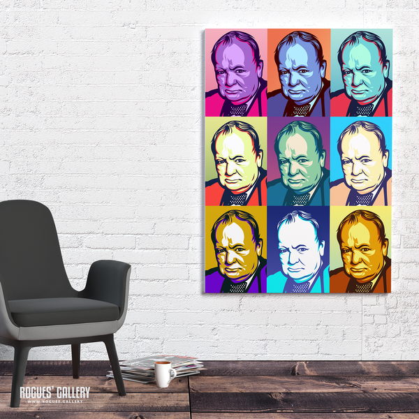Winston Churchill British PM prime minister UK WWII world war Two nazi victory salute pop art A1 print allies