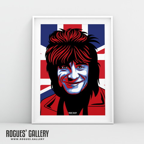 Ron Wood Ronnie Rolling Stones bass player bassist A3 print