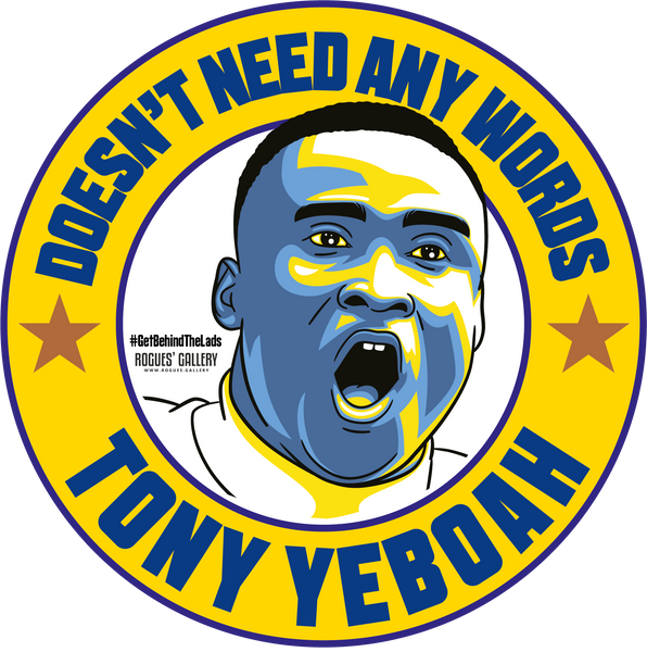 Tony Yeboah Leeds United striker campaign stickers #GetBehindTheLads LUFC