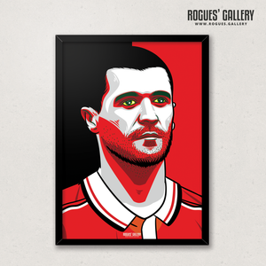 Young Roy Keane Manchester United midfielder captain A3 print edit legend