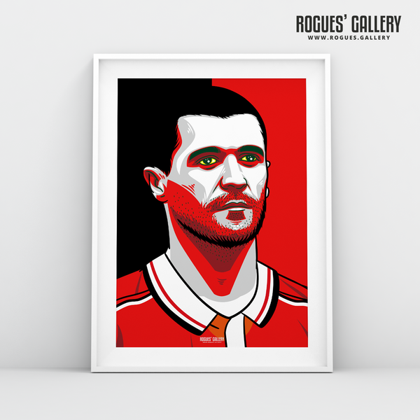 Young Roy Keane MUFC midfielder captain Old Trafford A3 print edits art
