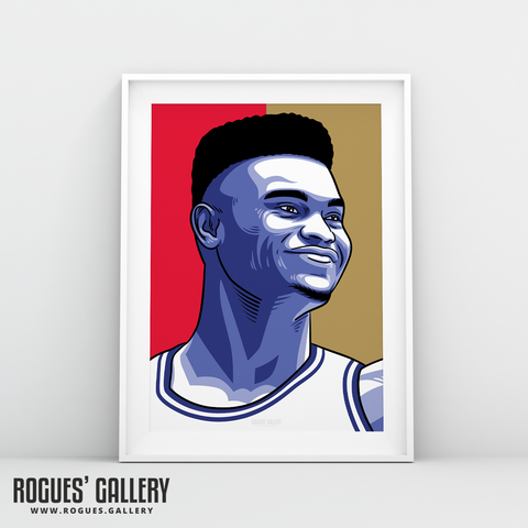 Zion Williamson New Orleans Pelicans basketball A3 Print edit NBA star