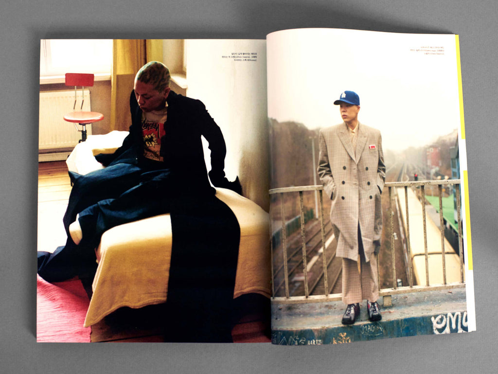 Hyukoh frontliner Oh Hyuk wears de Cosmi's MAXIMA earrings in the pages of Vogue