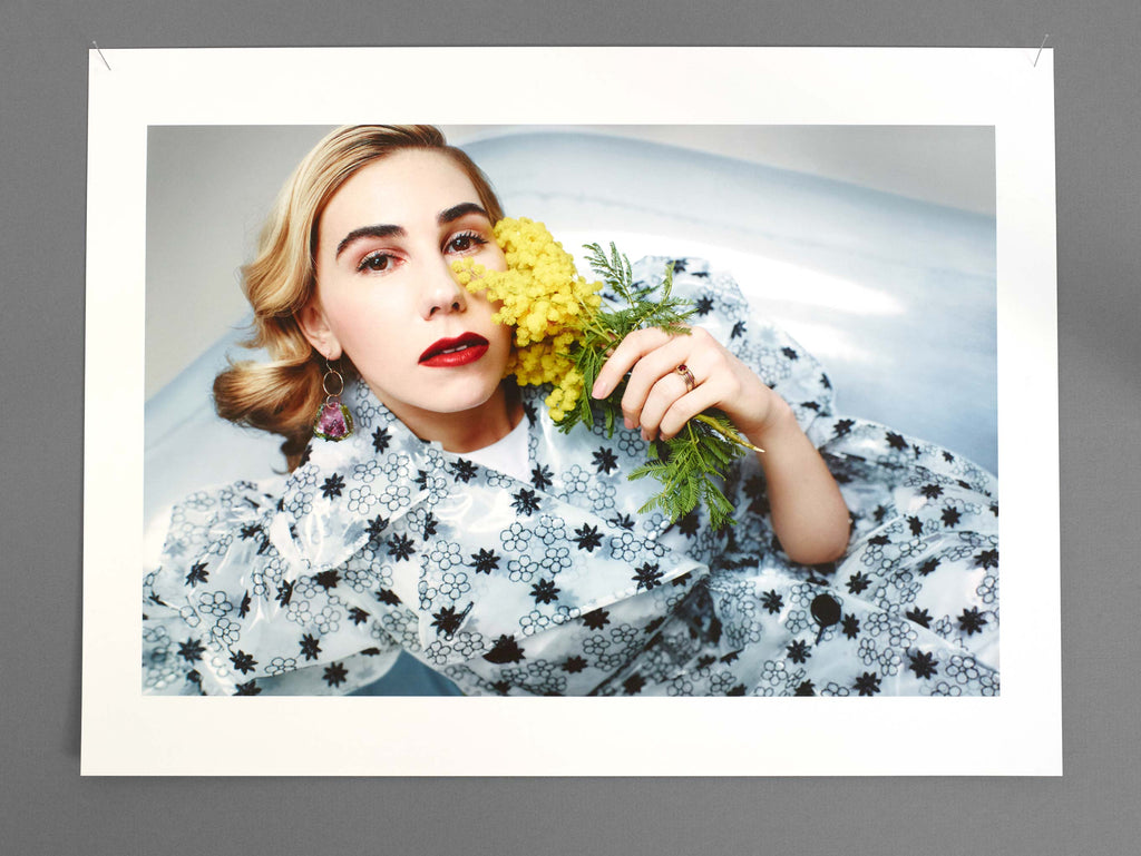 Zosia Mamet wears de Cosmi's one-of-a-kind CHARLOTTE MAGIA earrings in the Sunday Times