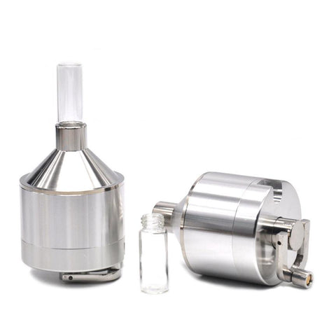 Aluminum Herb and Tobacco Hand Grinder with Catch Bottle