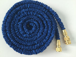 75' Blue Expandable Flexi Garden Water Hose with Copper Connectors and Spray Pistol