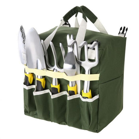 10 Piece Garden Tool Set with Zippered Tote and Folding Garden Stool