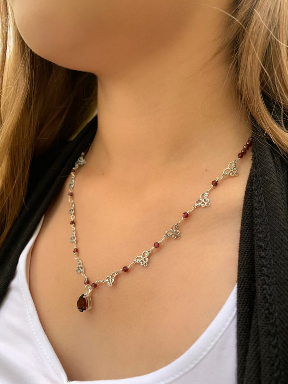 Rhodolite Pear Garnet with accents Necklace