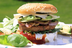 HEAVY HITTER Swiss. Bacon. Mushroom. Caramelized Onion.Arugula. Tomato. Dijionnaise. $13.00