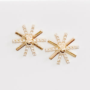 Starburst Cubic Zirconia Earrings, Gold