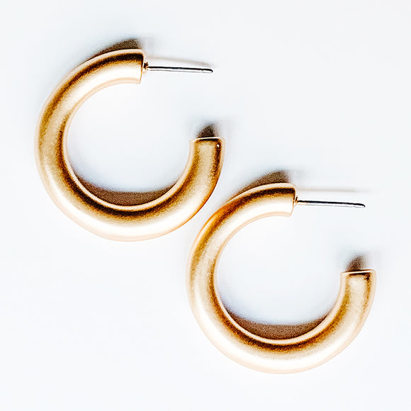 Brushed Thick Metal Hoop Earrings, Gold