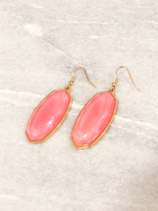 Stone Earring, Bright Pink