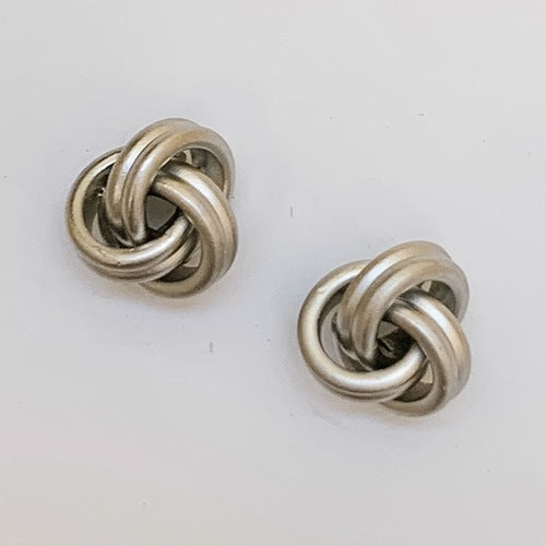 Matte Knot Stud Earrings, Silver
