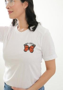 Anti-Social Butterfly Tee, White