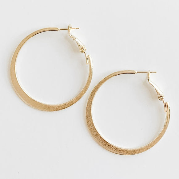 Brushed Hoop Earrings, Gold