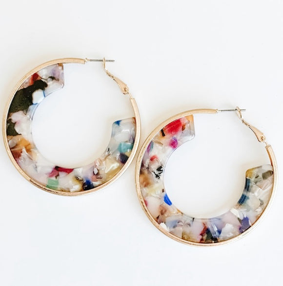 Resin Hoop Earrings, Multi