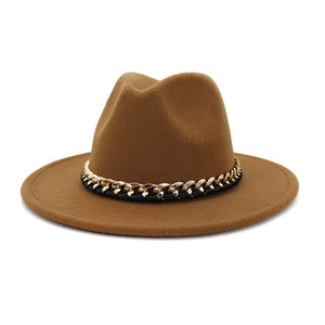 Felt Hat with Gold Chain, Camel