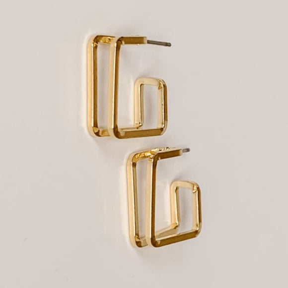Double Square Hoop Earrings, Gold