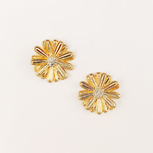 Metal Flower Stud Earrings, Gold