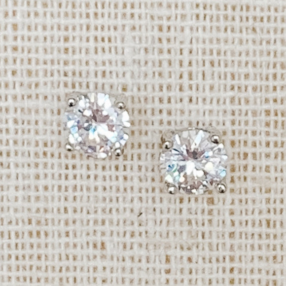Cubic Zirconia Stud Earrings, Silver