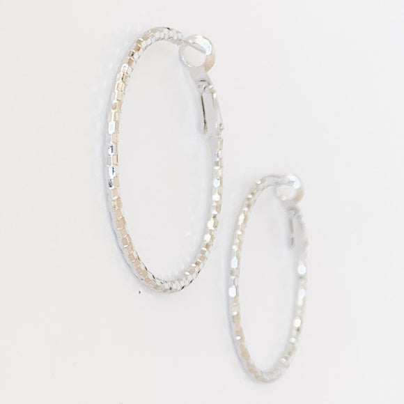 Textured Hoop Earrings, Silver