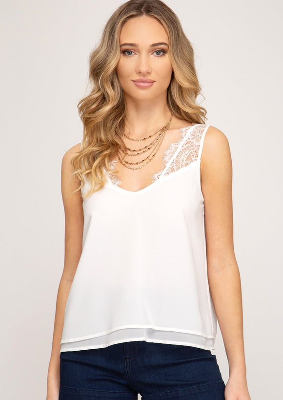 Lace Camisol Tank, Off White