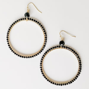 Beaded Circle Earrings, Black
