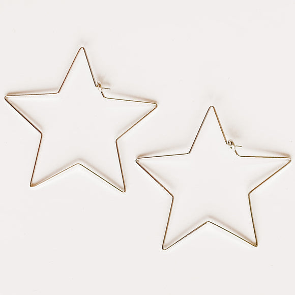 Star Hoop Earrings, Silver