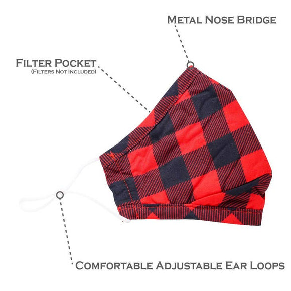 Buffalo Plaid Face Mask, Red