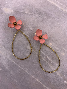 Earring Flower Alloy Gold